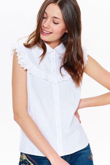 Fehér Top Secret casual nem elasztikus pamut női ing kerek gallér fodrok a mellrészen