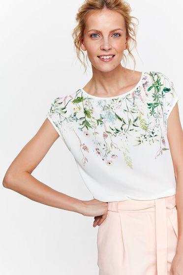 Fehér Top Secret póló casual bő szabás lenge anyagból virágmintás díszítéssel