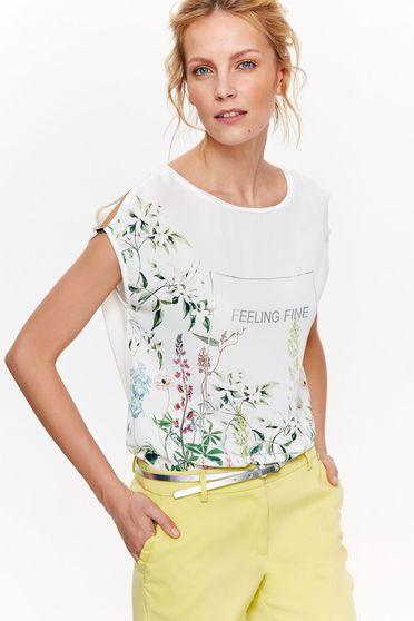 Fehér Top Secret póló casual bő szabású lenge anyagból virágmintás díszítéssel