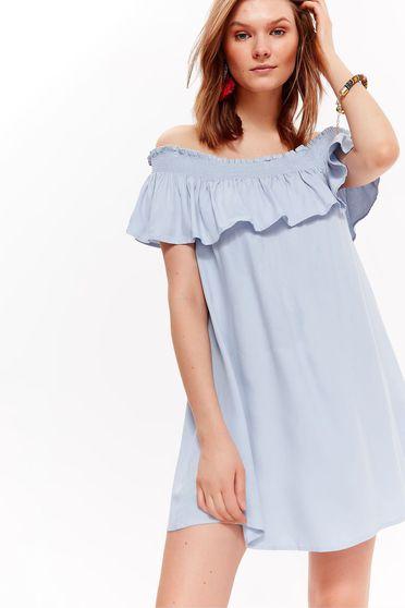 Világoskék Top Secret casual bő szabású ruha lenge anyagból váll nélküli