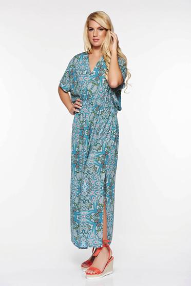 Világoskék Top Secret ruha hétköznapi bő szabású lenge anyagból nyomtatott mintával