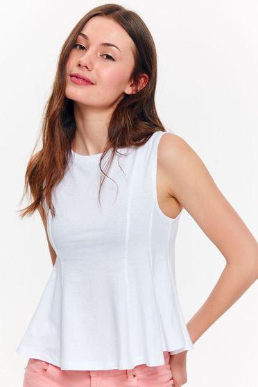 Fehér Top Secret casual pamutból készült bő szabású rövid felső
