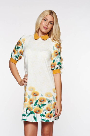 Mustar PrettyGirl bő szabás ruha virágmintás díszítéssel elegáns enyhén rugalmas anyag