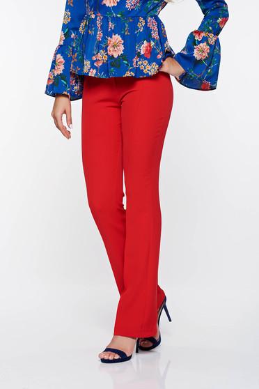 Piros PrettyGirl elegáns nadrág normál derekú bővülő rugalmas és finom anyag