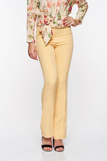 Mustar PrettyGirl elegáns nadrág normál derekú bővülő rugalmas és finom anyag