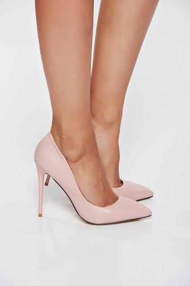 Rózsaszínű stiletto irodai magassarkú műbőr cipő