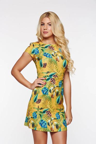 Mustar PrettyGirl hétköznapi a-vonalú ruha enyhén rugalmas anyag virágmintás díszítéssel