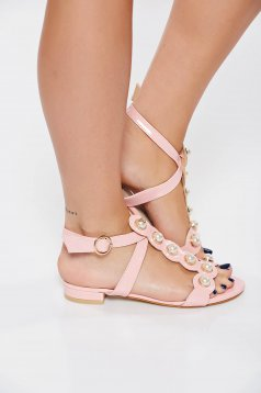 Pink elegáns szandál gyöngy díszítéssel lakkozott öko bőr