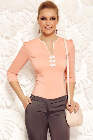 Rózsaszínű Fofy irodai női ing rugalmas pamut hímzett betétekkel