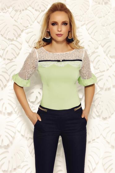 Világos zöld Fofy irodai női ing pamutból készült szűk szabás csipke díszítéssel