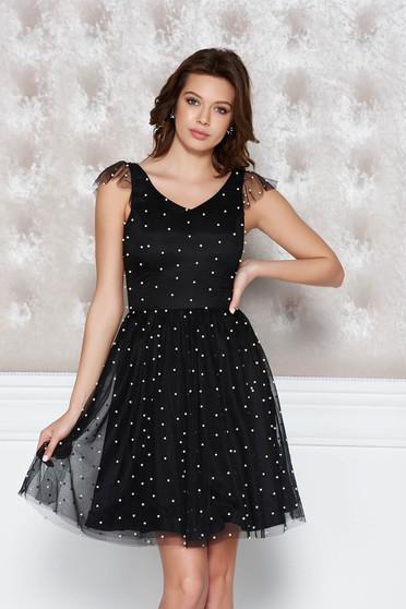 Fekete StarShinerS alkalmi harang ruha tüll gyöngy díszítéssel belső béléssel