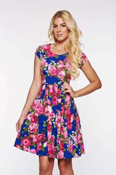 Kék PrettyGirl hétköznapi harang ruha rugalmas puha anyag