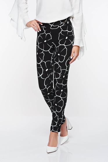 Fekete PrettyGirl irodai kónikus nadrág geometriai minta