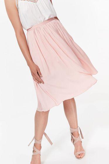 Rózsaszínű Top Secret elegáns harang szoknya magas derekú lenge anyagból