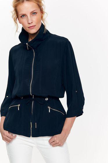 Sötétkék Top Secret casual bő szabásu dzseki nem rugalmas anyag derékban zsinórral köthető meg