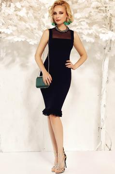 Fekete Fofy elegáns ceruza ruha enyhén rugalmas anyag fodrok a ruha alján