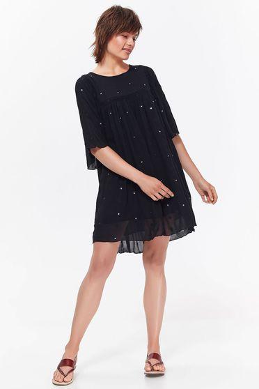 Fekete Top Secret hétköznapi bő szabású ruha lenge, áttetsző anyag csillogó kiegészítők