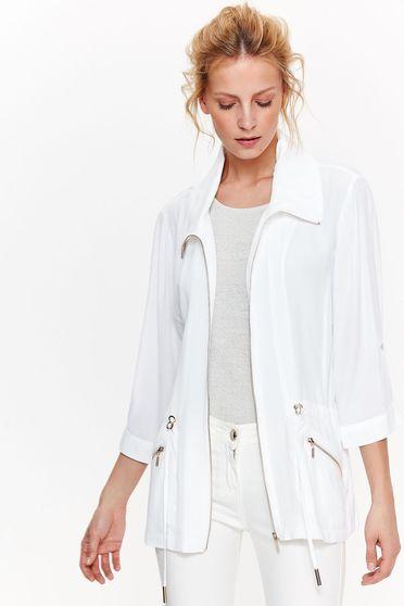 Fehér Top Secret casual bő szabás dzseki nem rugalmas anyag derékban zsinórral köthető meg