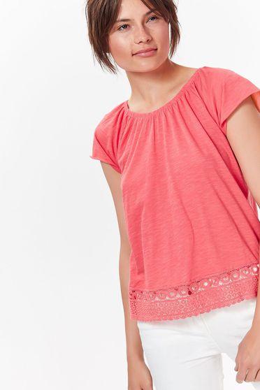 Pink Top Secret női blúz casual csipke díszítéssel puha anyag bő szabás