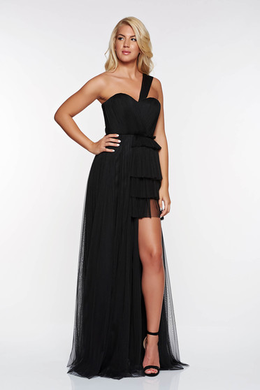 Fekete Ana Radu tüll ruha belső béléssel szivacsos mellrész asszimmetrikus szabással