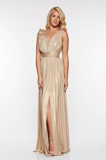 Arany LaDonna alkalmi harang ruha fényes anyag virágos díszek