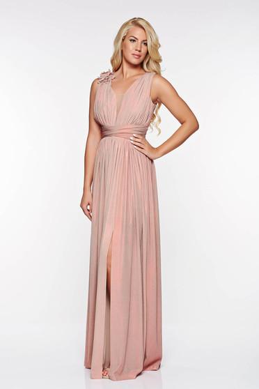 Rózsaszínű LaDonna alkalmi harang ruha fényes anyag virágos díszek