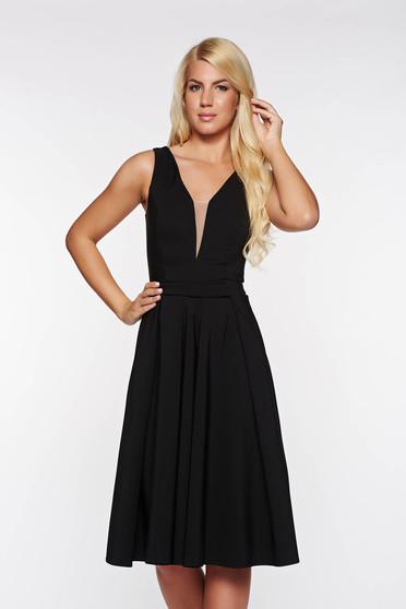 Fekete LaDonna alkalmi harang ruha enyhén elasztikus szövet mély dekoltázs