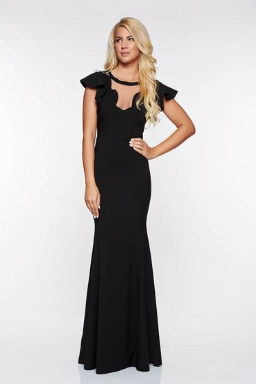Fekete LaDonna alkalmi szirén tipusú ruha enyhén rugalmas anyag v-dekoltázzsal belső béléssel