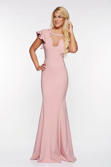 Rózsaszínű LaDonna alkalmi szirén tipusú ruha enyhén rugalmas anyag v-dekoltázzsal belső béléssel
