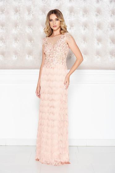 Rózsaszínű LaDonna alkalmi ruha csipkés anyag rojtos szűk szabás mély dekoltázs