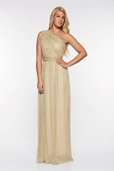 Arany LaDonna alkalmi ruha áttetsző anyag rakott lamé szál belső béléssel