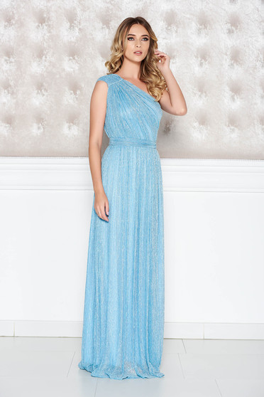 Világoskék LaDonna alkalmi ruha áttetsző rakott anyag lamé szállal belső  béléssel 74c33eb000