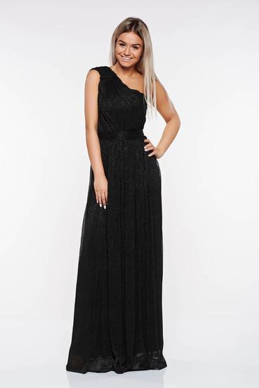 Fekete LaDonna alkalmi ruha áttetsző anyag rakott lamé szál belső béléssel