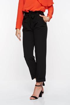 Fekete PrettyGirl magas derekú irodai nadrág enyhén elasztikus szövet zsebes