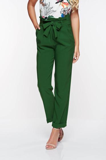 Zöld PrettyGirl magas derekú irodai nadrág enyhén elasztikus szövet zsebes
