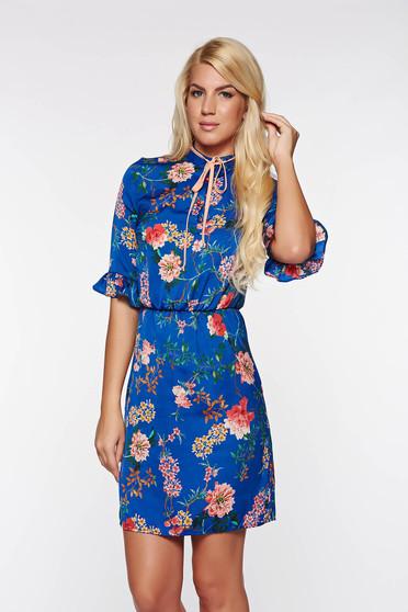 Kék PrettyGirl hétköznapi ruha belső béléssel lenge anyagból derékban rugalmas