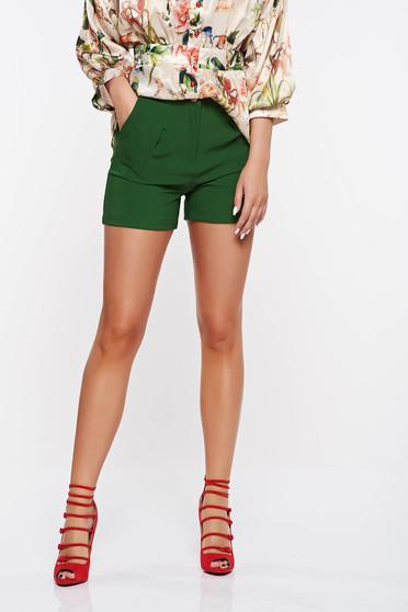 Zöld PrettyGirl rövidnadrág casual enyhén rugalmas szövet zsebes