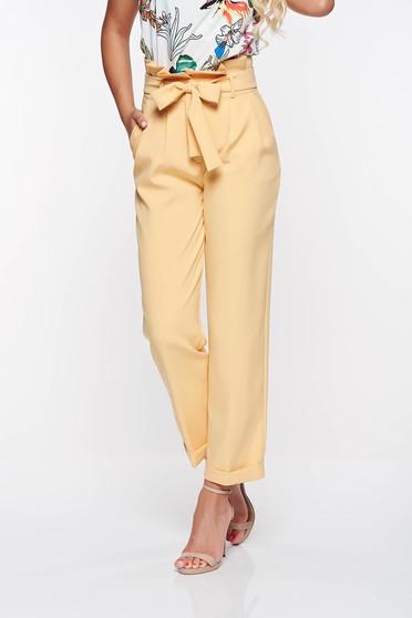 Sárga PrettyGirl magas derekú irodai nadrág enyhén elasztikus szövet zsebes