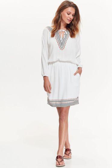 Fehér Top Secret hétköznapi bő szabású ruha lenge anyagból derékban rugalmas