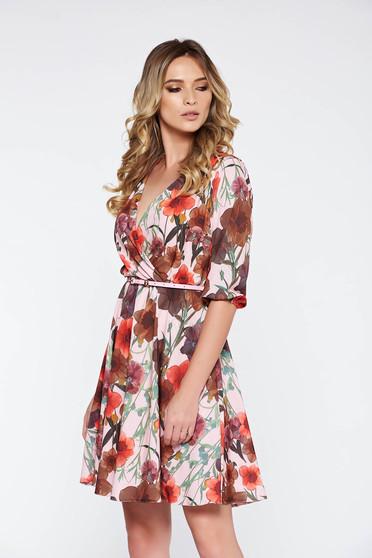 Rózsaszínű StarShinerS elegáns harang ruha lenge anyagból derékban rugalmas belső  béléssel ebf04a600b