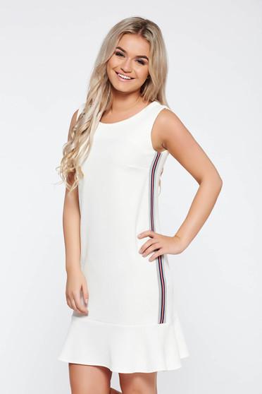 Fehér StarShinerS casual ruha egyenes szabás rugalmas anyag fodros