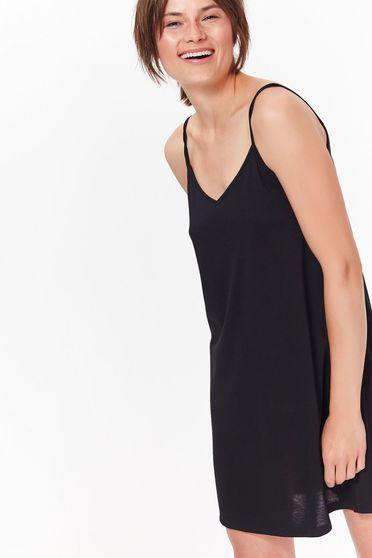 Fekete Top Secret casual rövid bő szabású pántos ruha vékony anyag