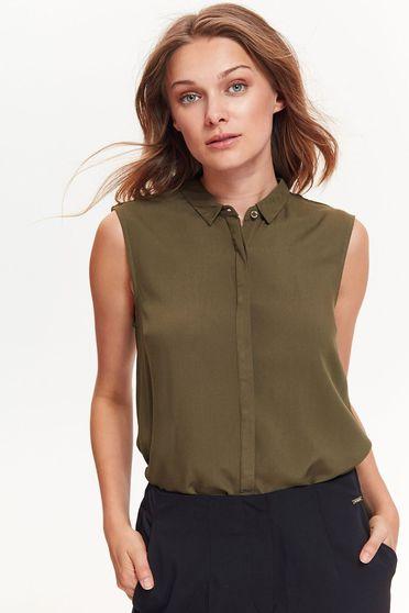 Kaki Top Secret női ing irodai bő szabású vékony anyag ujj nélküli