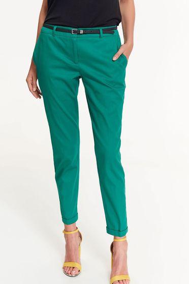 Zöld Top Secret nadrág irodai kónikus pamutból készült zsebes normál derekú
