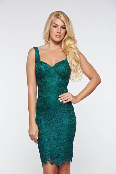 Zöld ruha alkalmi csipkés anyagból belső béléssel flitteres díszítés szivacsos mellrész