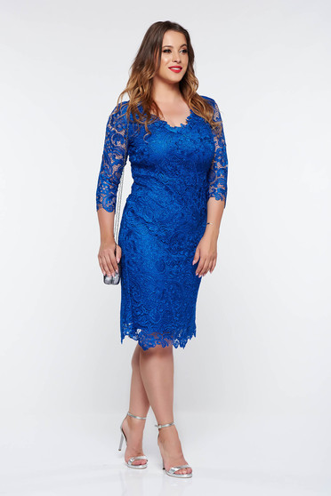 Kék ruha alkalmi ceruza csipkés anyagból belső béléssel