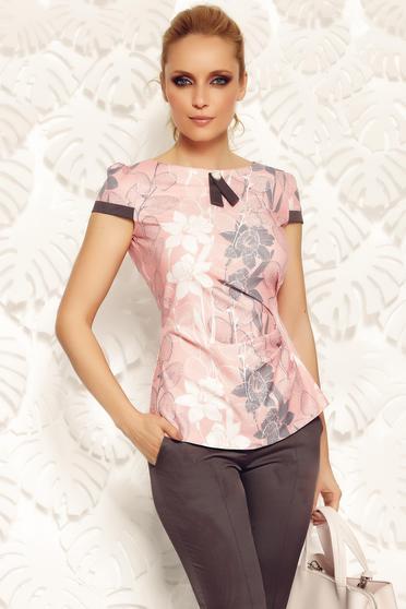 Rózsaszínű Fofy női blúz irodai szűk szabás finom tapintású anyag bross kiegészítővel