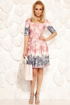 Rózsaszínű Fofy irodai harang ruha enyhén rugalmas anyag virágmintás díszítéssel