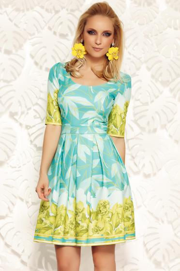 Zöld Fofy irodai harang ruha enyhén rugalmas anyag virágmintás díszítéssel