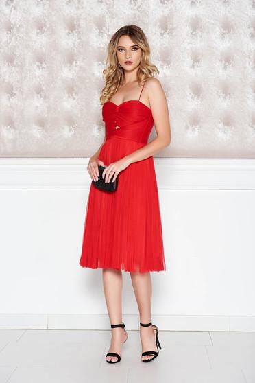 Piros Ana Radu ruha alkalmi tüll belső béléssel fűzős